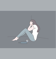 female alcoholism depression addiction mental vector image