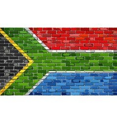 Flag of South Africa on a brick wall vector