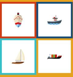 flat icon vessel set of yacht transport tanker vector image
