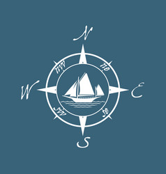 Flat pirate yacht icon with compass vector