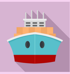 Front container ship icon flat style vector