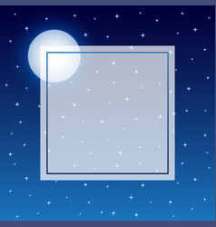 fulll moon and starry night sky baner background vector image