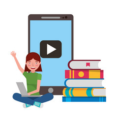 girl with laptop and books education online vector image