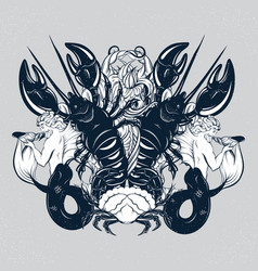 Hand drawn triton lobster crab in realistic vector