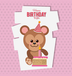 happy birthday monkey cartoon card vector image