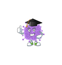 Happy face coronavirus influenza in graduation hat vector