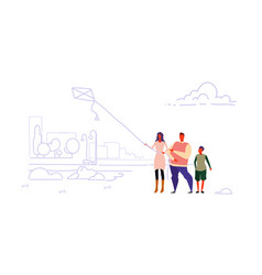 happy family launching kite city urban park vector image