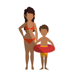 Isolated women and boy vector