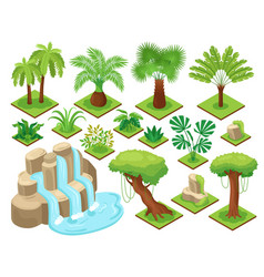 isometric jungle constructor set vector image