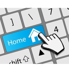 Keyboard Home button with mouse hand cursor vector image