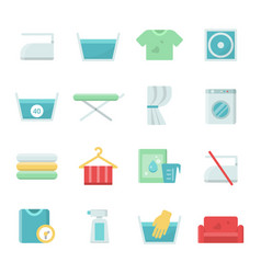 laundry symbols icons set for vector image
