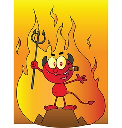 Little Devil Smoking A Cigar In Front Of Flames vector image