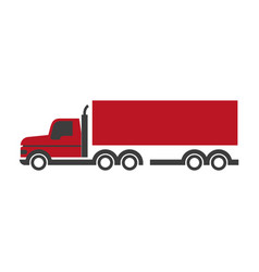 Lorry symbol in red and black colors isolated vector