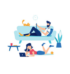 Man and woman at home with laptop computers vector