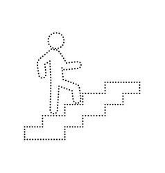 man on stairs going up black dotted icon vector image