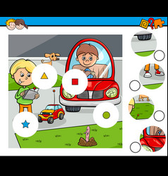 Match pieces puzzle with kid boys and toys vector