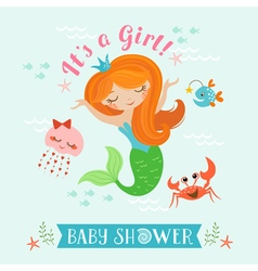 Mermaid baby shower vector