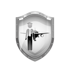 metallic shield of pilot with aeroplane vector image