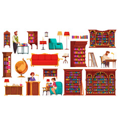 Old library interior set vector