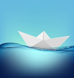 Paper boat floating on the water surface vector