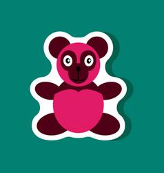paper sticker on stylish background toy panda vector image