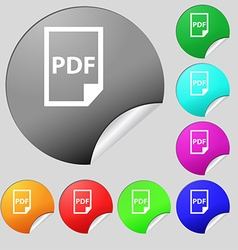 PDF Icon sign Set of eight multi colored round vector