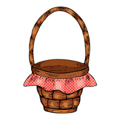 picnic basket isolated on white background vector image