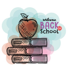 pile books and apple back to school drawings vector image