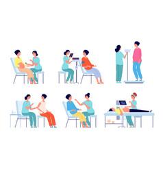 Pregnant woman medical check up pregnancy care vector
