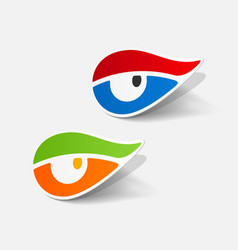 Realistic paper sticker eye vector