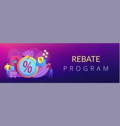Rebate program concept banner header vector