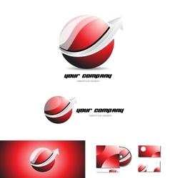 Red sphere arrow 3d logo icon design vector