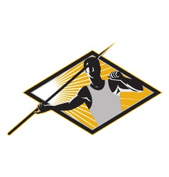 Retro Javelin Athlete Icon vector image