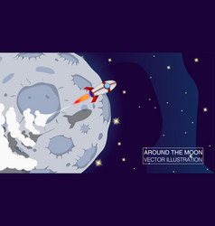 rocket ship fly around the moon vector image