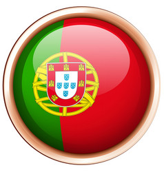 Round badge for portugal flag vector
