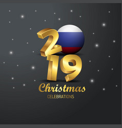 Russia flag 2019 merry christmas typography new vector