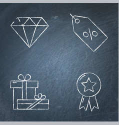 Sale and gifts icon set on chalkboard vector