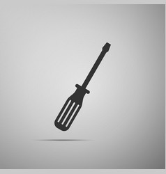 Screwdriver flat icon on grey background vector