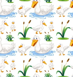 Seamless background with duck in the pond vector image