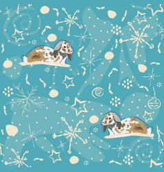 seamless winter pattern with bunnies on blue vector image