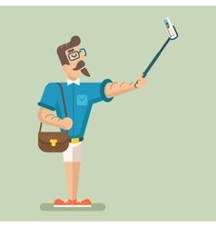 Selfie Stick Happy Cartoon Hipster Geek Mobile vector image