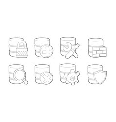 Server icon set outline style vector