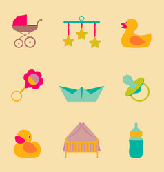 Set collection icons of color object for vector