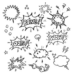 set hand drawn comic elements doodle comic vector image