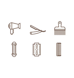 set of barbershop objects hair dryer vector image