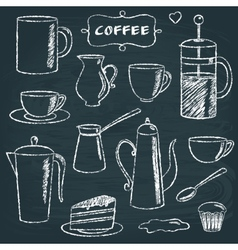 Set of chalkboard coffee items vector image