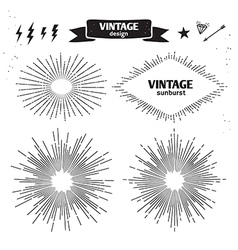 Set of Vintage Sun Burst monochrome light rays vector