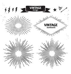 set vintage sun burst monochrome light rays vector image
