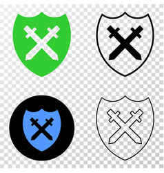 shield and swords eps icon with contour vector image