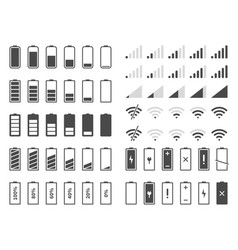 Signal and battery icons network signal strength vector